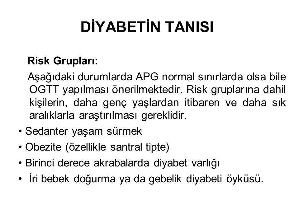 DİYABETİN TANISI Risk Grupları: Aşağıdaki durumlarda APG normal sınırlarda olsa bile OGTT yapılması önerilmektedir. Risk gruplarına dahil kişilerin, d