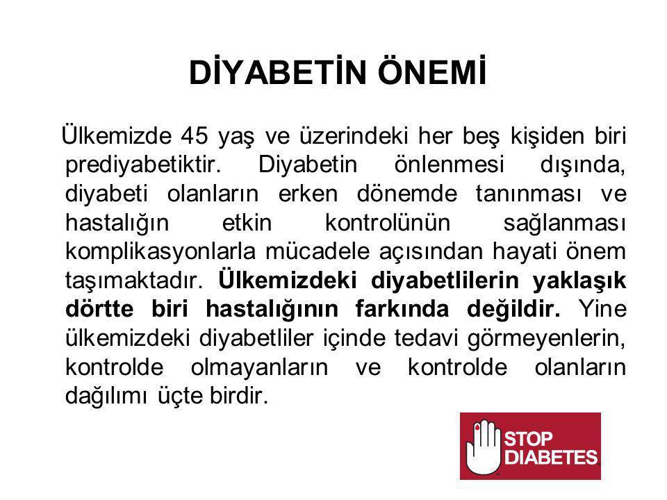DİYABETİN ÖNEMİ Ülkemizde 45 yaş ve üzerindeki her beş kişiden biri prediyabetiktir. Diyabetin önlenmesi dışında, diyabeti olanların erken dönemde tan