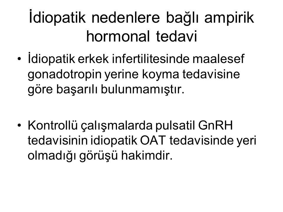 İdiopatik nedenlere bağlı ampirik hormonal tedavi İdiopatik erkek infertilitesinde maalesef gonadotropin yerine koyma tedavisine göre başarılı bulunmamıştır.