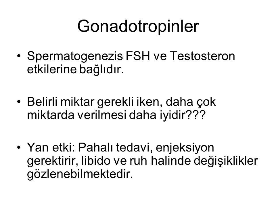 Gonadotropinler Spermatogenezis FSH ve Testosteron etkilerine bağlıdır.