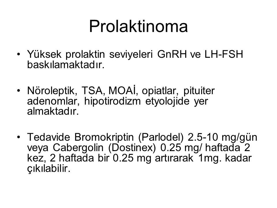 Prolaktinoma Yüksek prolaktin seviyeleri GnRH ve LH-FSH baskılamaktadır.