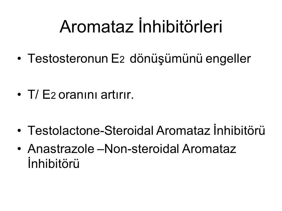 Aromataz İnhibitörleri Testosteronun E 2 dönüşümünü engeller T/ E 2 oranını artırır.