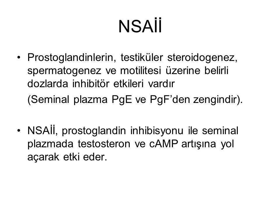 NSAİİ Prostoglandinlerin, testiküler steroidogenez, spermatogenez ve motilitesi üzerine belirli dozlarda inhibitör etkileri vardır (Seminal plazma PgE ve PgF'den zengindir).