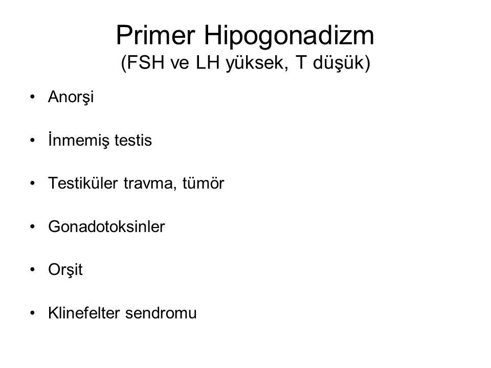 Primer Hipogonadizm (FSH ve LH yüksek, T düşük) Anorşi İnmemiş testis Testiküler travma, tümör Gonadotoksinler Orşit Klinefelter sendromu