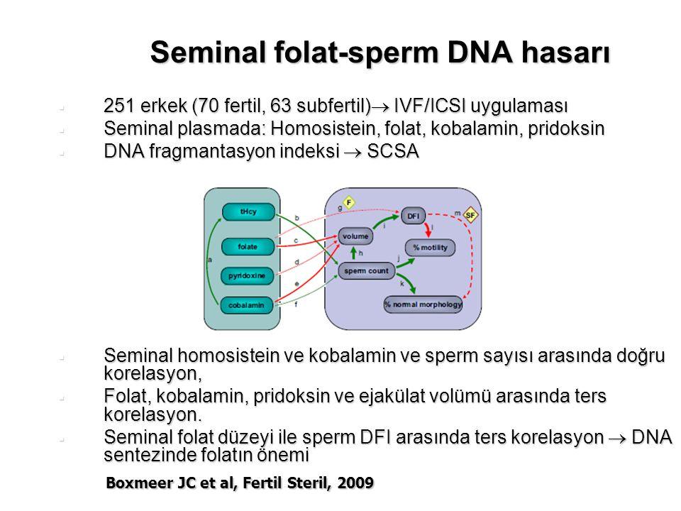 Seminal folat-sperm DNA hasarı  251 erkek (70 fertil, 63 subfertil)  IVF/ICSI uygulaması  Seminal plasmada: Homosistein, folat, kobalamin, pridoksin  DNA fragmantasyon indeksi  SCSA  Seminal homosistein ve kobalamin ve sperm sayısı arasında doğru korelasyon,  Folat, kobalamin, pridoksin ve ejakülat volümü arasında ters korelasyon.