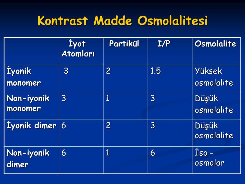 Kontrast Madde Osmolalitesi İyot Atomları İyot Atomları Partikül Partikül I/P I/P Osmolalite İyonikmonomer 321.5Yüksek osmolalite Non-iyonik monomer 3