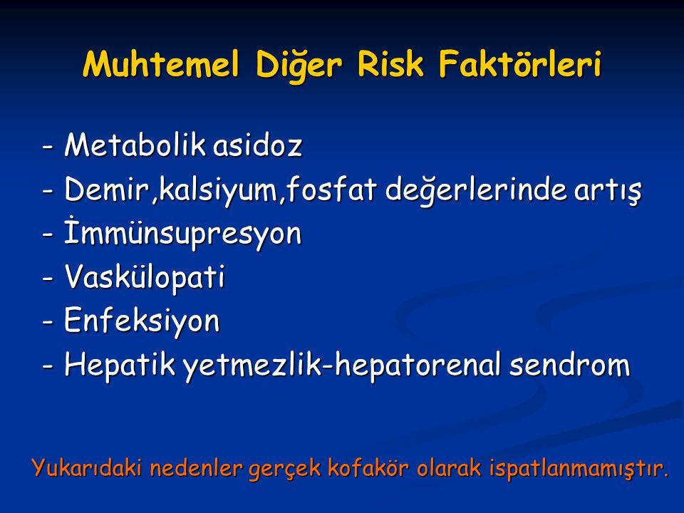Muhtemel Diğer Risk Faktörleri - Metabolik asidoz - Demir,kalsiyum,fosfat değerlerinde artış - İmmünsupresyon - Vaskülopati - Enfeksiyon - Hepatik yet