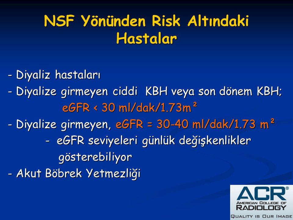 NSF Yönünden Risk Altındaki Hastalar - Diyaliz hastaları - Diyalize girmeyen ciddi KBH veya son dönem KBH; eGFR < 30 ml/dak/1.73m² eGFR < 30 ml/dak/1.
