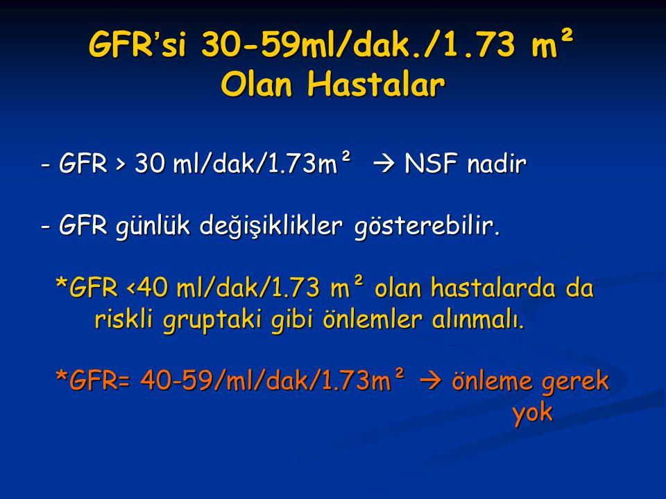 GFR'si 30-59ml/dak./1.73 m² Olan Hastalar - GFR > 30 ml/dak/1.73m²  NSF nadir - GFR günlük de ğ i ş iklikler gösterebilir. *GFR <40 ml/dak/1.73 m² ol