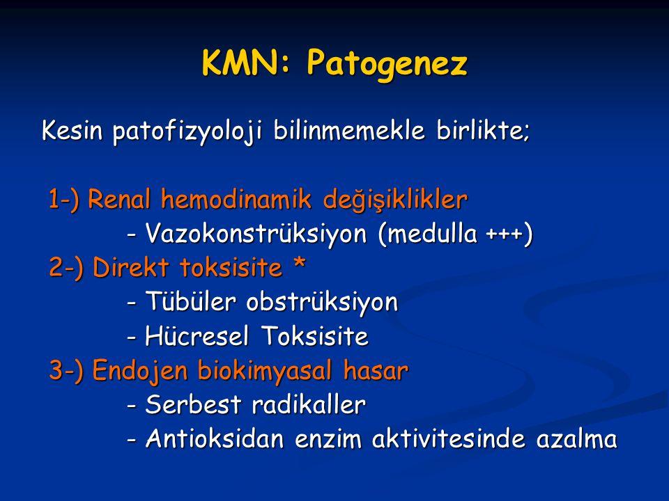 KMN: Patogenez Kesin patofizyoloji bilinmemekle birlikte; 1-) Renal hemodinamik de ğ i ş iklikler 1-) Renal hemodinamik de ğ i ş iklikler - Vazokonstr