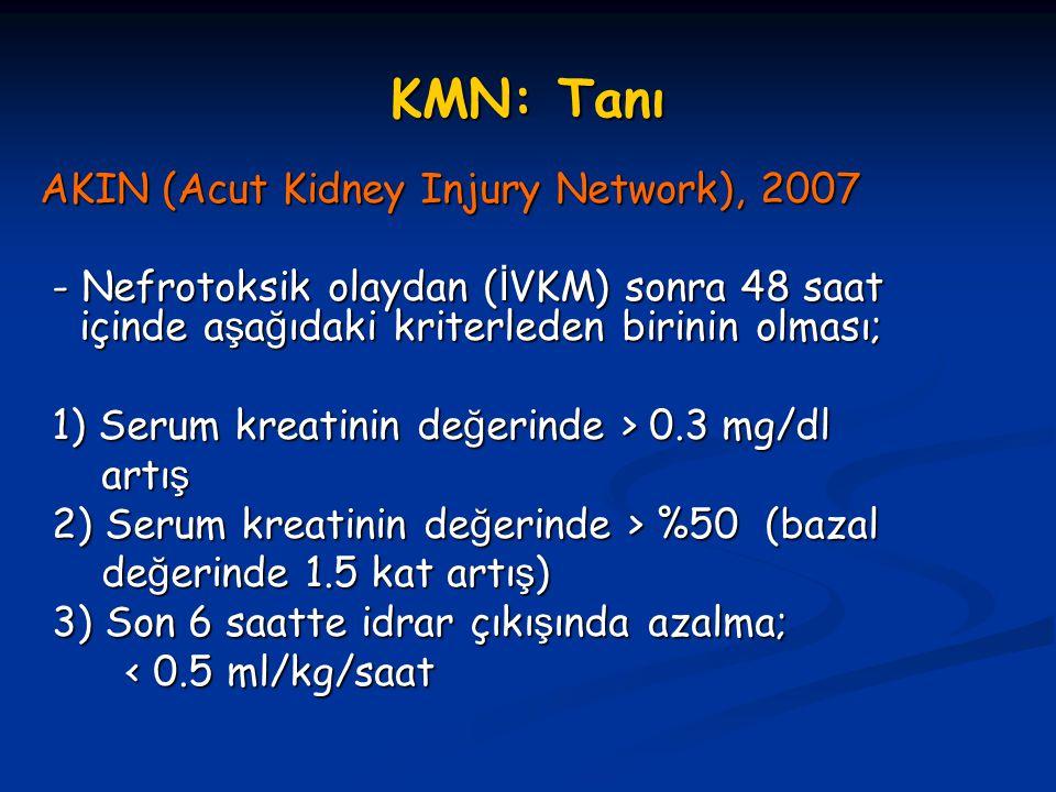 KMN: Alınacak Önlemler 3-) Hidrasyon: En etkin yöntem * Ekstrasellüler volümü (ECV) en efektif artıran tedavi ş ekli seçilmeli; - İ zotonik Solüsyonlar Tercih Edilmeli (%0.9 normal salin)  1ml/kg/saat.