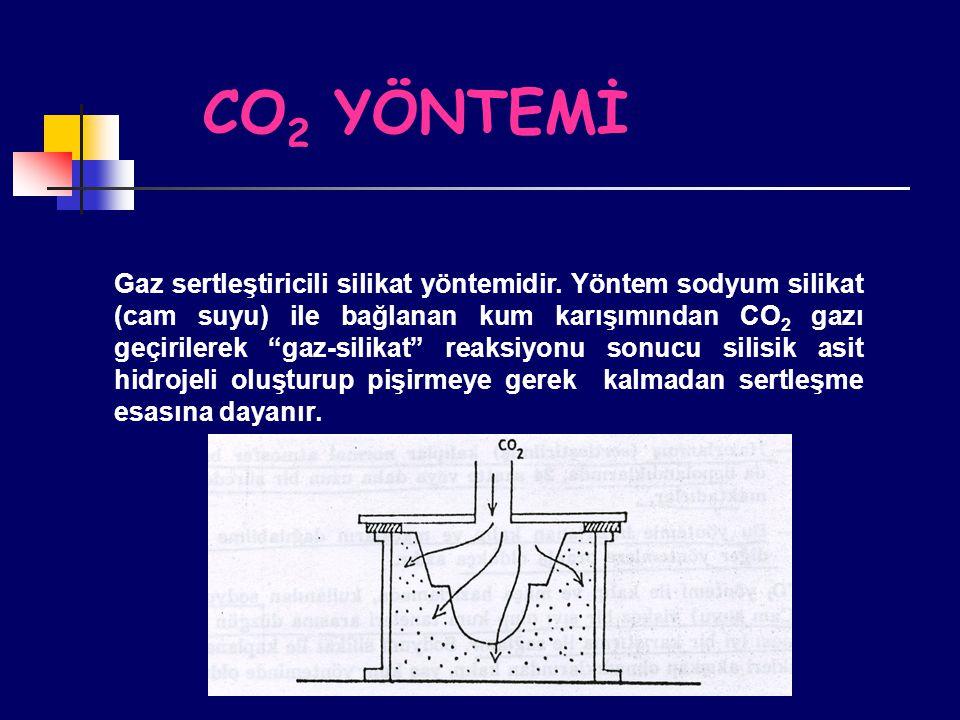 """CO 2 YÖNTEMİ Gaz sertleştiricili silikat yöntemidir. Yöntem sodyum silikat (cam suyu) ile bağlanan kum karışımından CO 2 gazı geçirilerek """"gaz-silikat"""