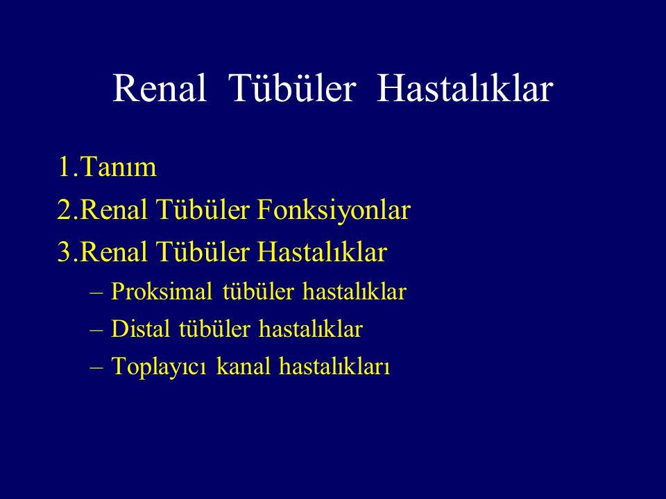 Renal Tübüler Hastalıklar 1.Proksimal tübüler hastalıklar Fanconi sendromuDent's hastalığı AminoasidürilerHipofosfatemik rikets Proksimal renal tübüler asidoz 2.Distal tübüler hastalıklar Distal renal tübüler asidoz Bartter sendromuGitelman sendromu Hiperprostaglandin E2 sendromu 3.Toplayıcı kanal hastalıkları Nefrojenik diabetes insipidus
