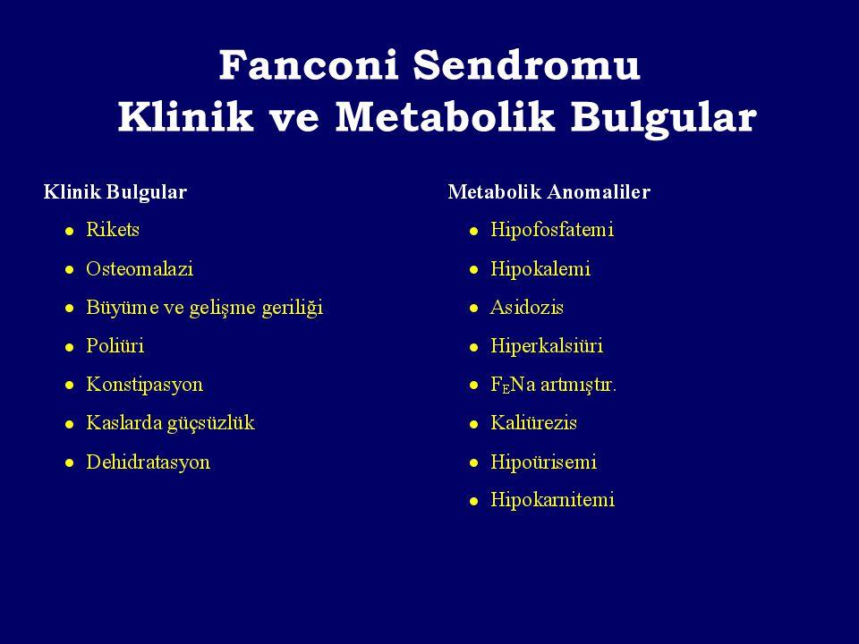 Fanconi Sendromu Tedavi Asidoz Hipokalemi Hipofosfatemi Hipovolemi Aminoasidüri ve glukozüri