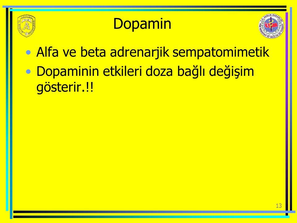 Dopamin Alfa ve beta adrenarjik sempatomimetik Dopaminin etkileri doza bağlı değişim gösterir.!! 13