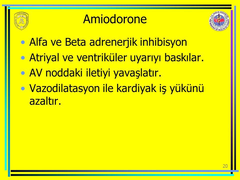 Amiodorone Alfa ve Beta adrenerjik inhibisyon Atriyal ve ventriküler uyarıyı baskılar. AV noddaki iletiyi yavaşlatır. Vazodilatasyon ile kardiyak iş y