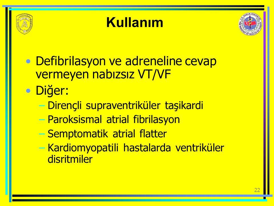 22 Kullanım Defibrilasyon ve adreneline cevap vermeyen nabızsız VT/VF Diğer: –Dirençli supraventriküler taşikardi –Paroksismal atrial fibrilasyon –Sem