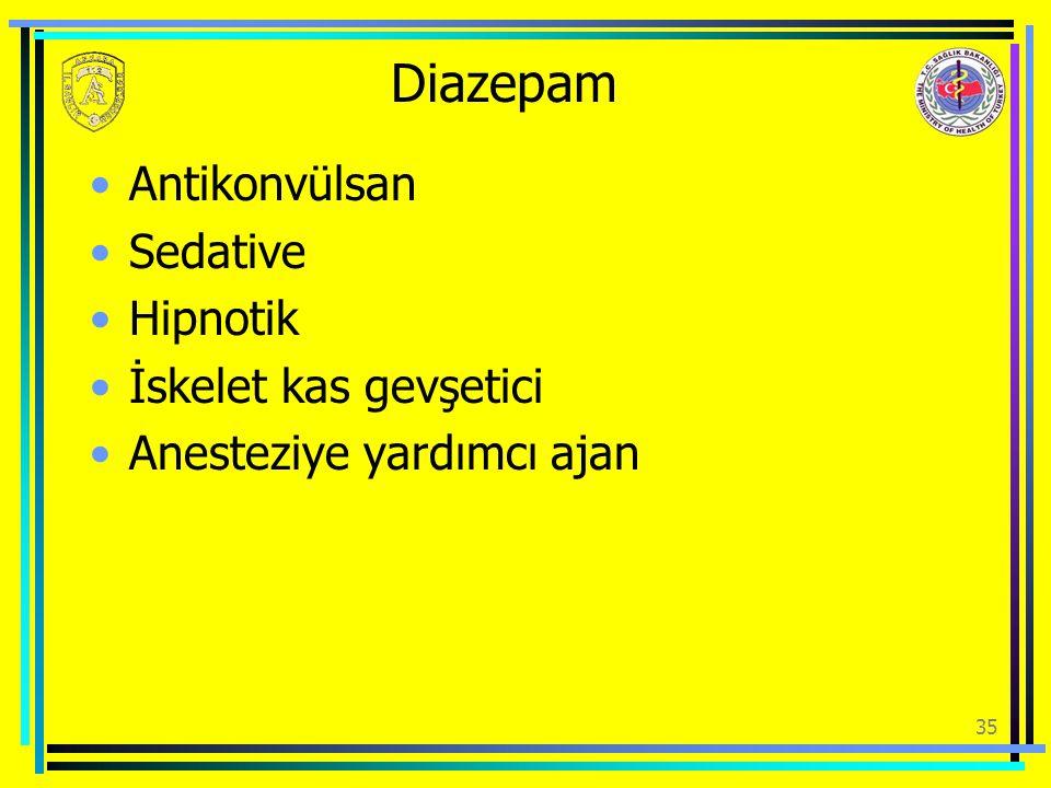 Diazepam Antikonvülsan Sedative Hipnotik İskelet kas gevşetici Anesteziye yardımcı ajan 35