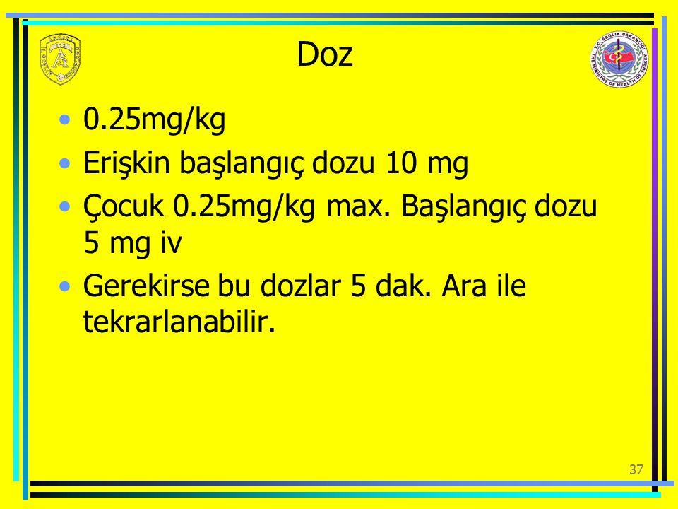 Doz 0.25mg/kg Erişkin başlangıç dozu 10 mg Çocuk 0.25mg/kg max. Başlangıç dozu 5 mg iv Gerekirse bu dozlar 5 dak. Ara ile tekrarlanabilir. 37