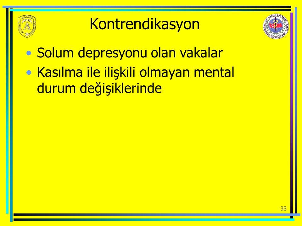 Kontrendikasyon Solum depresyonu olan vakalar Kasılma ile ilişkili olmayan mental durum değişiklerinde 38