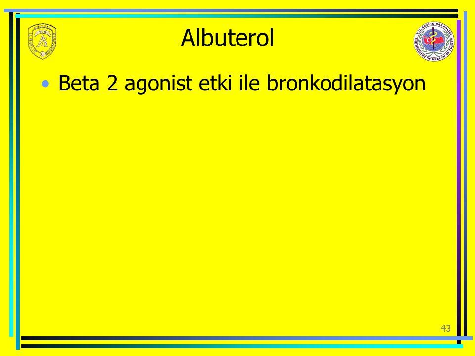 Albuterol Beta 2 agonist etki ile bronkodilatasyon 43
