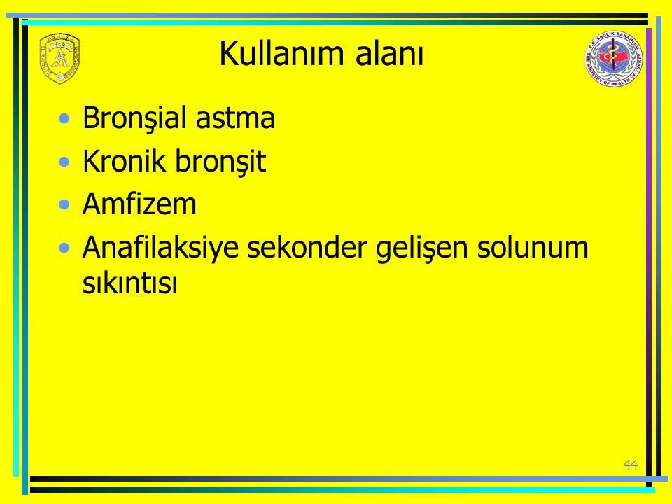 Kullanım alanı Bronşial astma Kronik bronşit Amfizem Anafilaksiye sekonder gelişen solunum sıkıntısı 44