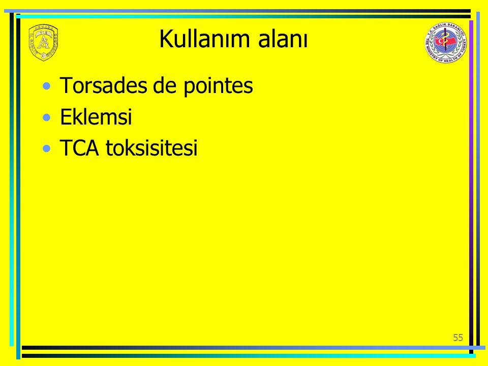 Kullanım alanı Torsades de pointes Eklemsi TCA toksisitesi 55