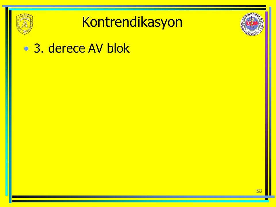 Kontrendikasyon 3. derece AV blok 58