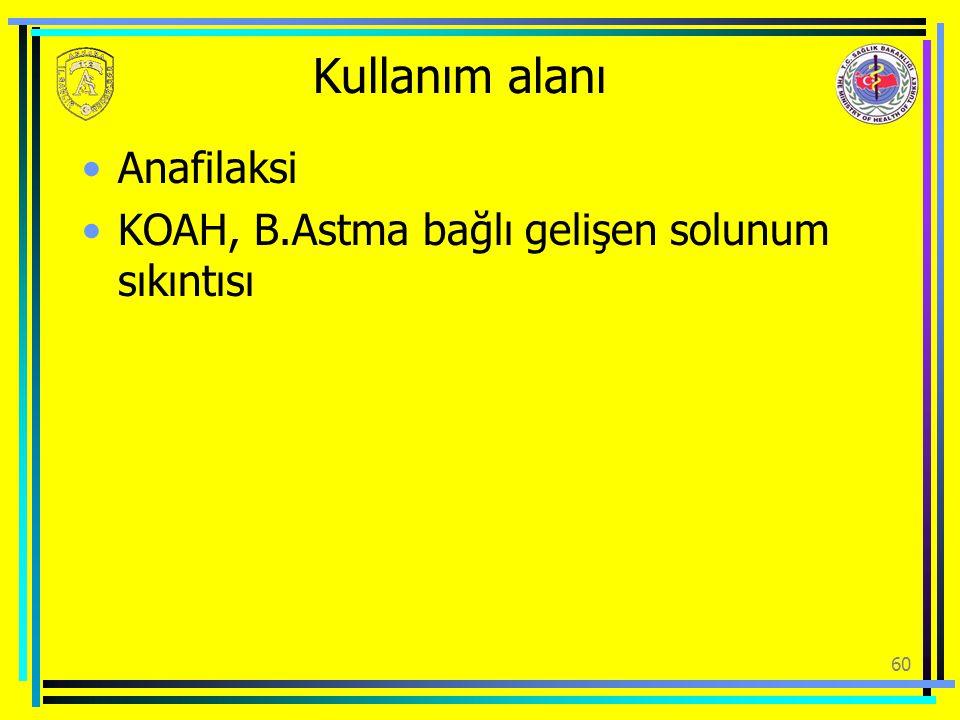 Kullanım alanı Anafilaksi KOAH, B.Astma bağlı gelişen solunum sıkıntısı 60