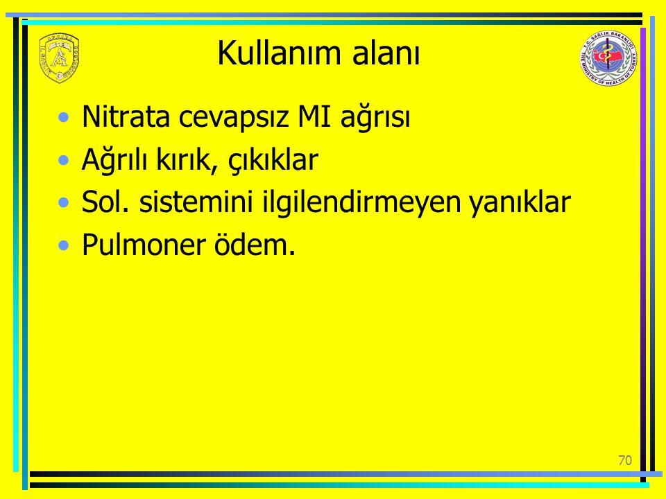 Kullanım alanı Nitrata cevapsız MI ağrısı Ağrılı kırık, çıkıklar Sol. sistemini ilgilendirmeyen yanıklar Pulmoner ödem. 70