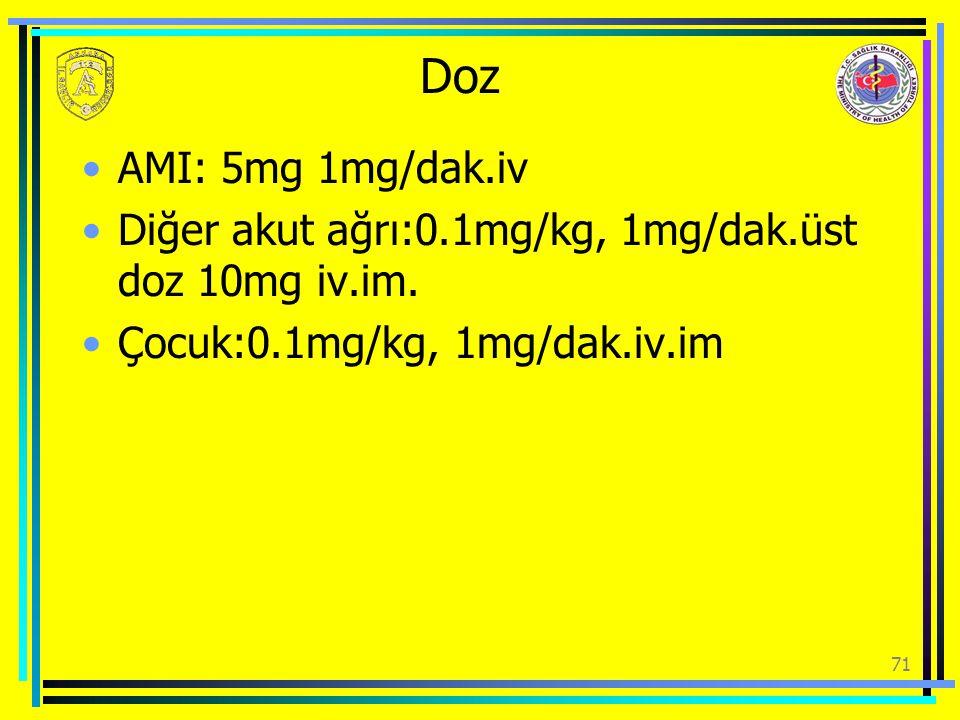 Doz AMI: 5mg 1mg/dak.iv Diğer akut ağrı:0.1mg/kg, 1mg/dak.üst doz 10mg iv.im. Çocuk:0.1mg/kg, 1mg/dak.iv.im 71