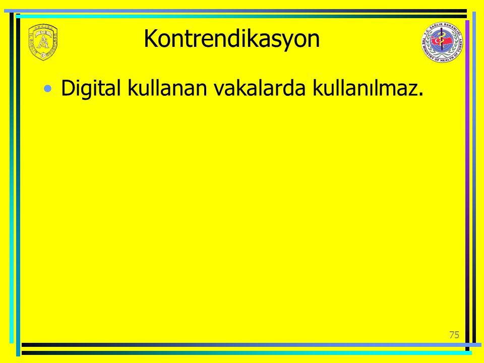 Kontrendikasyon Digital kullanan vakalarda kullanılmaz. 75
