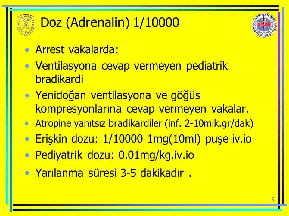 9 Doz (Adrenalin) 1/10000 Arrest vakalarda: Ventilasyona cevap vermeyen pediatrik bradikardi Yenidoğan ventilasyona ve göğüs kompresyonlarına cevap ve