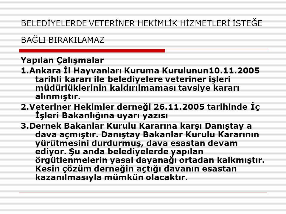 BELEDİYELERDE VETERİNER HEKİMLİK HİZMETLERİ İSTEĞE BAĞLI BIRAKILAMAZ Yapılan Çalışmalar 1.Ankara İl Hayvanları Kuruma Kurulunun10.11.2005 tarihli kara