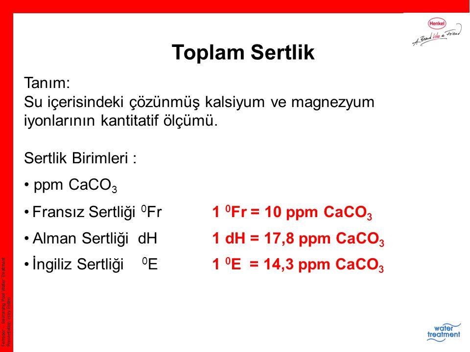 Ferrodor – Swimming Pool Water Treatment Presentation Eray Erdim Toplam Sertlik Tanım: Su içerisindeki çözünmüş kalsiyum ve magnezyum iyonlarının kant