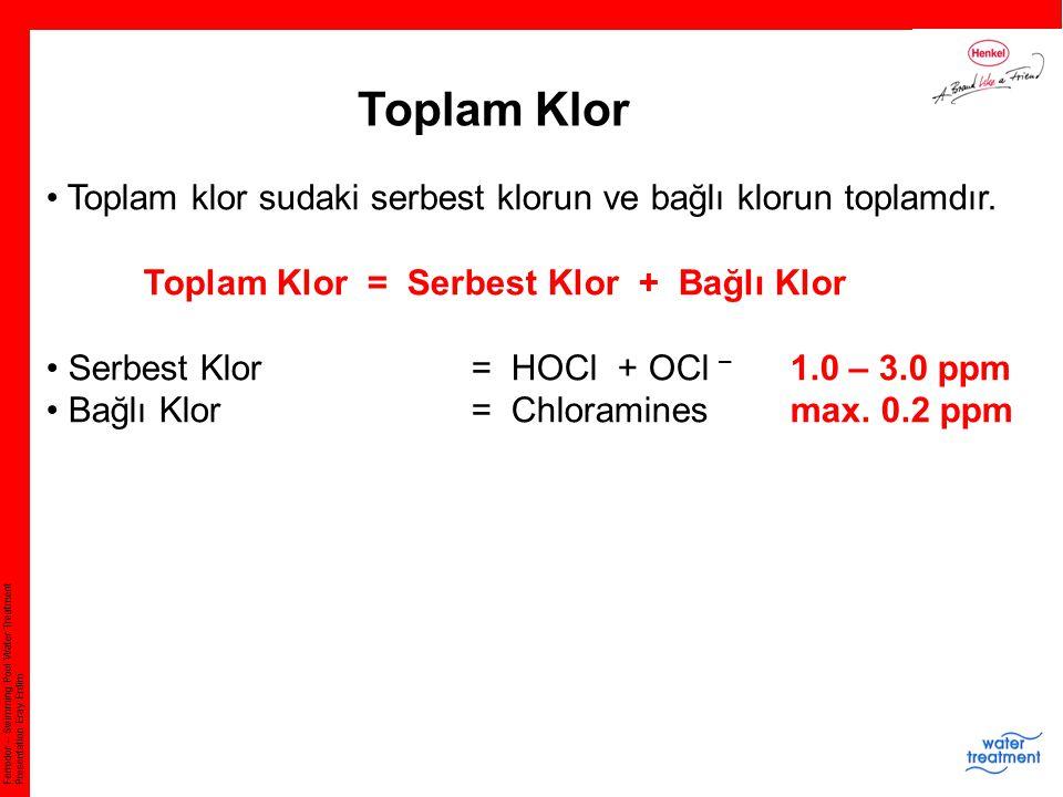 Ferrodor – Swimming Pool Water Treatment Presentation Eray Erdim Toplam Klor Toplam klor sudaki serbest klorun ve bağlı klorun toplamdır. Toplam Klor