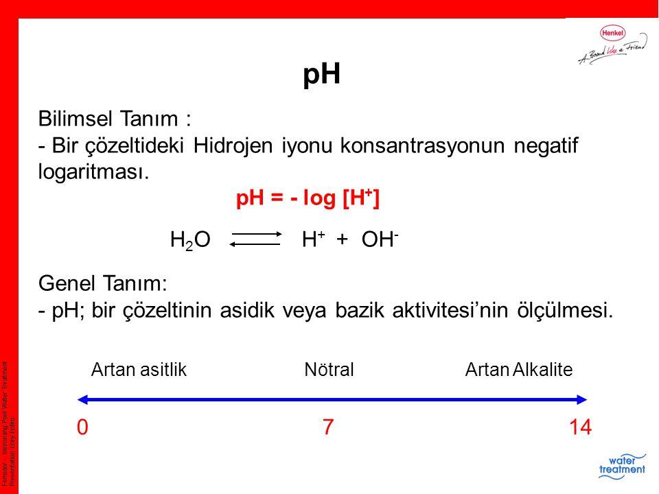 Ferrodor – Swimming Pool Water Treatment Presentation Eray Erdim pH Bilimsel Tanım : - Bir çözeltideki Hidrojen iyonu konsantrasyonun negatif logaritm
