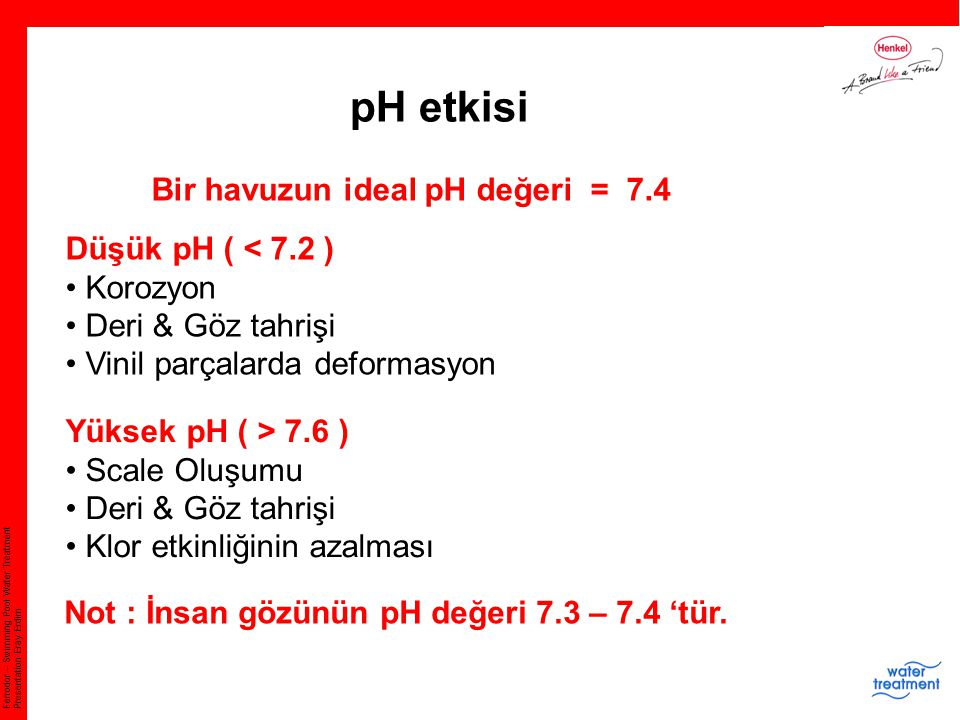 Ferrodor – Swimming Pool Water Treatment Presentation Eray Erdim pH etkisi Bir havuzun ideal pH değeri = 7.4 Düşük pH ( < 7.2 ) Korozyon Deri & Göz ta