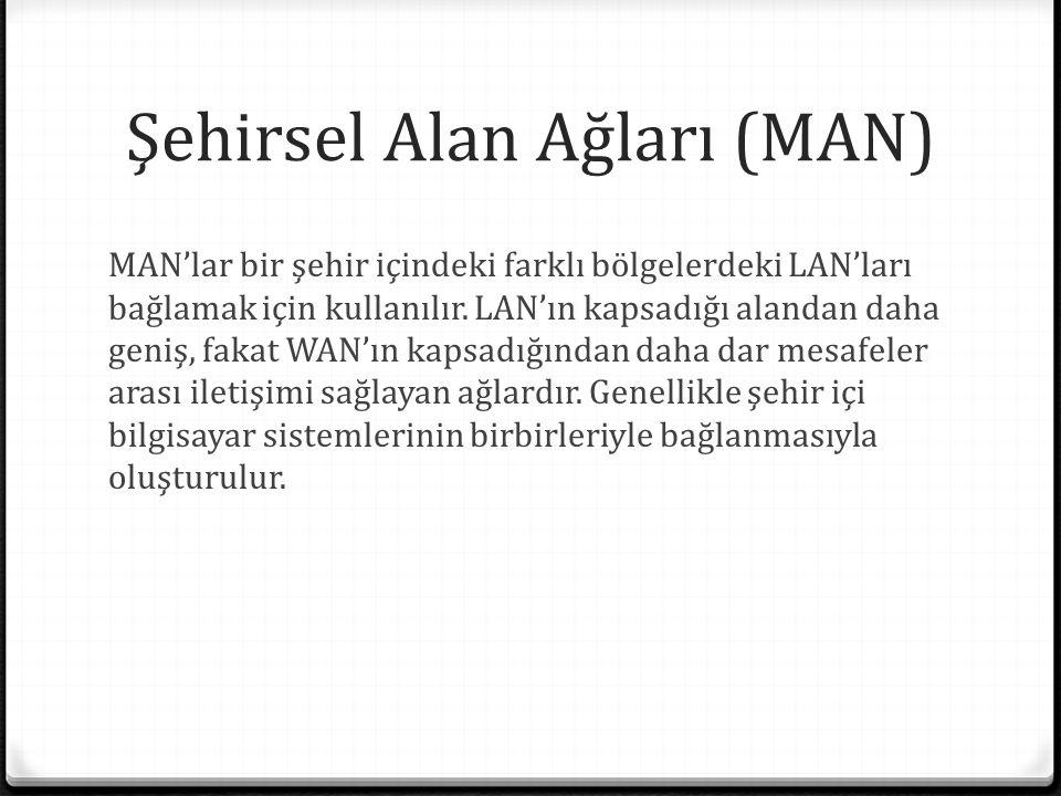 Şehirsel Alan Ağları (MAN) MAN'lar bir şehir içindeki farklı bölgelerdeki LAN'ları bağlamak için kullanılır.