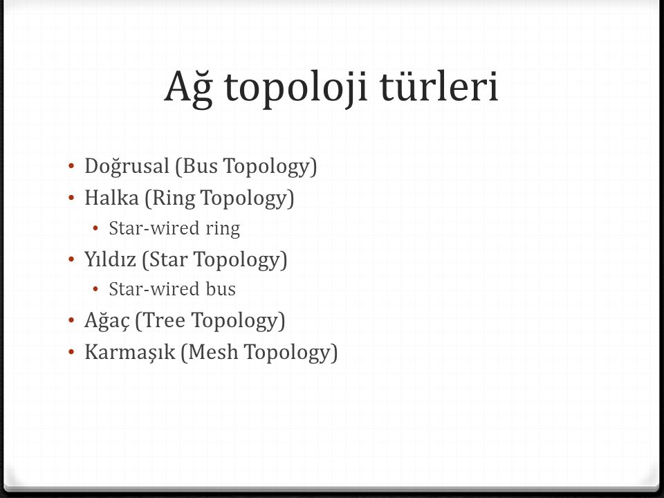 Ağ topoloji türleri Doğrusal (Bus Topology) Halka (Ring Topology) Star-wired ring Yıldız (Star Topology) Star-wired bus Ağaç (Tree Topology) Karmaşık