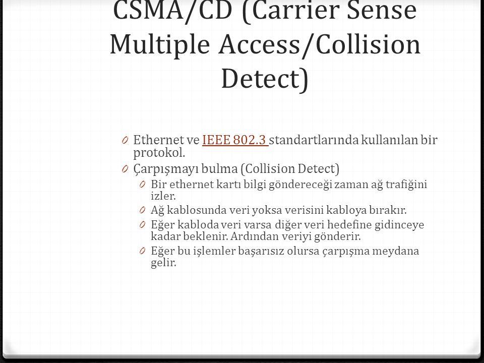 CSMA/CD (Carrier Sense Multiple Access/Collision Detect) 0 Ethernet ve IEEE 802.3 standartlarında kullanılan bir protokol.IEEE 802.3 0 Çarpışmayı bulma (Collision Detect) 0 Bir ethernet kartı bilgi göndereceği zaman ağ trafiğini izler.