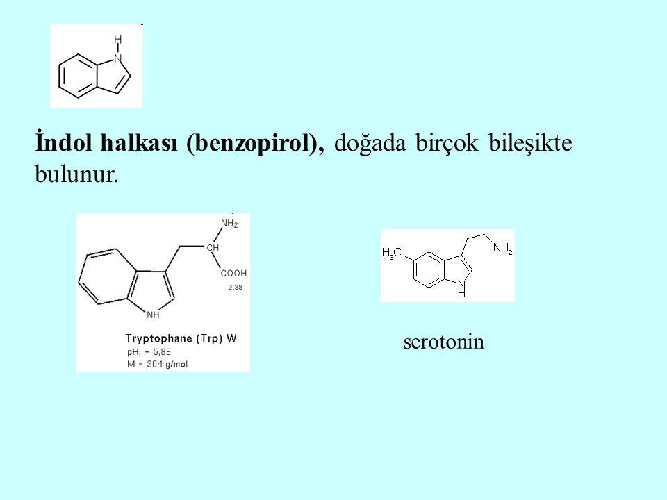 İndol halkası (benzopirol), doğada birçok bileşikte bulunur. serotonin