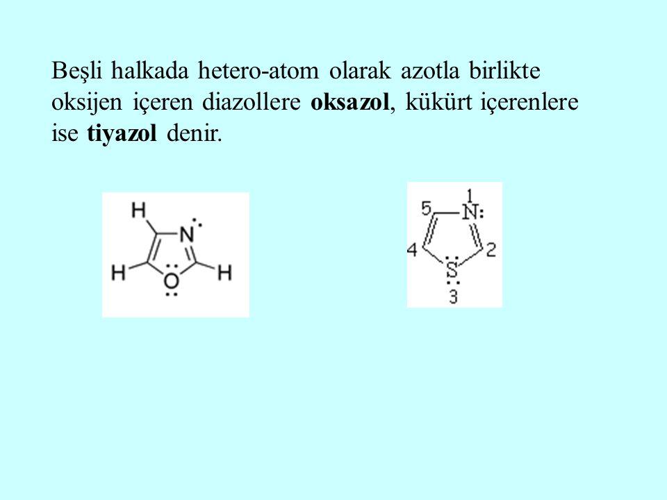 Beşli halkada hetero-atom olarak azotla birlikte oksijen içeren diazollere oksazol, kükürt içerenlere ise tiyazol denir.