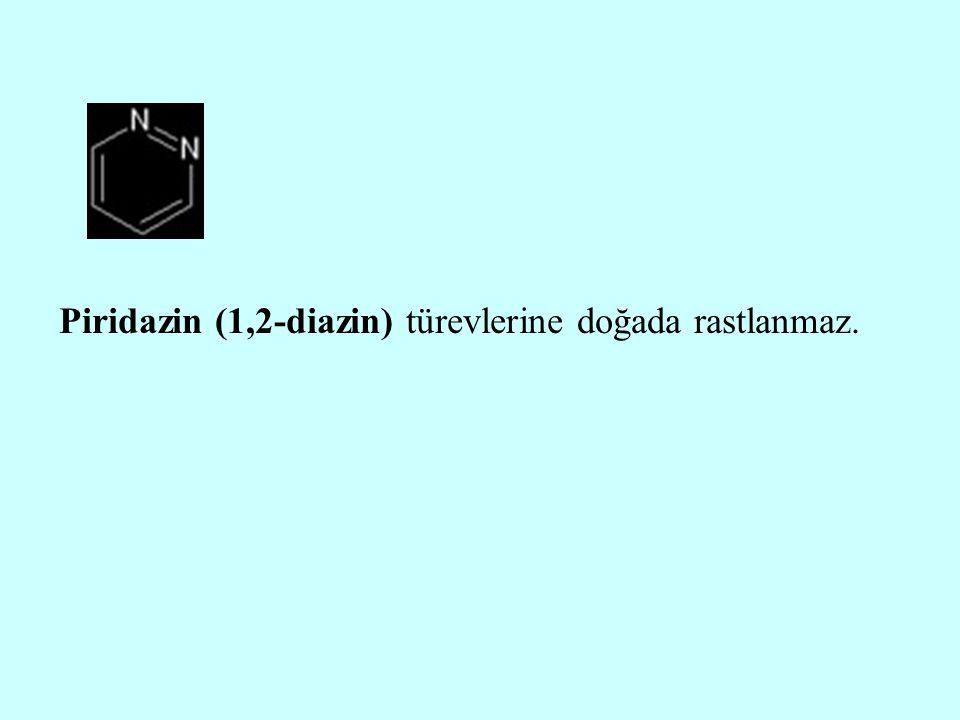 Piridazin (1,2-diazin) türevlerine doğada rastlanmaz.