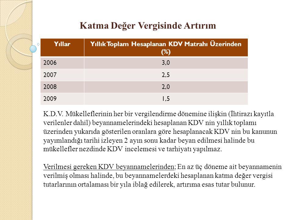 Katma Değer Vergisinde Artırım YıllarYıllık Toplam Hesaplanan KDV Matrahı Üzerinden (%) 20063,0 20072,5 20082,0 20091,5 K.D.V. Mükelleflerinin her bir
