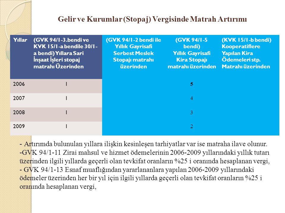 Gelir ve Kurumlar (Stopaj) Vergisinde Matrah Artırımı Yıllar(GVK 94/1-3.bendi ve KVK 15/1-a bendile 30/1- a bendi) Yıllara Sari İ nşaat İ şleri stopaj