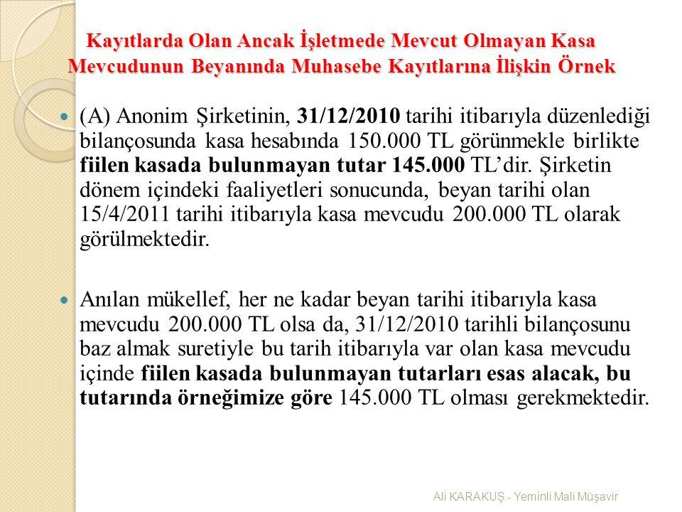 Kayıtlarda Olan Ancak İşletmede Mevcut Olmayan Kasa Mevcudunun Beyanında Muhasebe Kayıtlarına İlişkin Örnek (A) Anonim Şirketinin, 31/12/2010 tarihi i