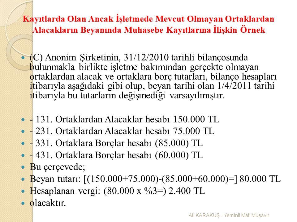 Kayıtlarda Olan Ancak İşletmede Mevcut Olmayan Ortaklardan Alacakların Beyanında Muhasebe Kayıtlarına İlişkin Örnek (C) Anonim Şirketinin, 31/12/2010