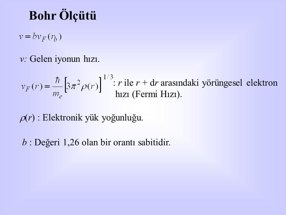 Bohr Ölçütü v: Gelen iyonun hızı. : r ile r + dr arasındaki yörüngesel elektron hızı (Fermi Hızı).