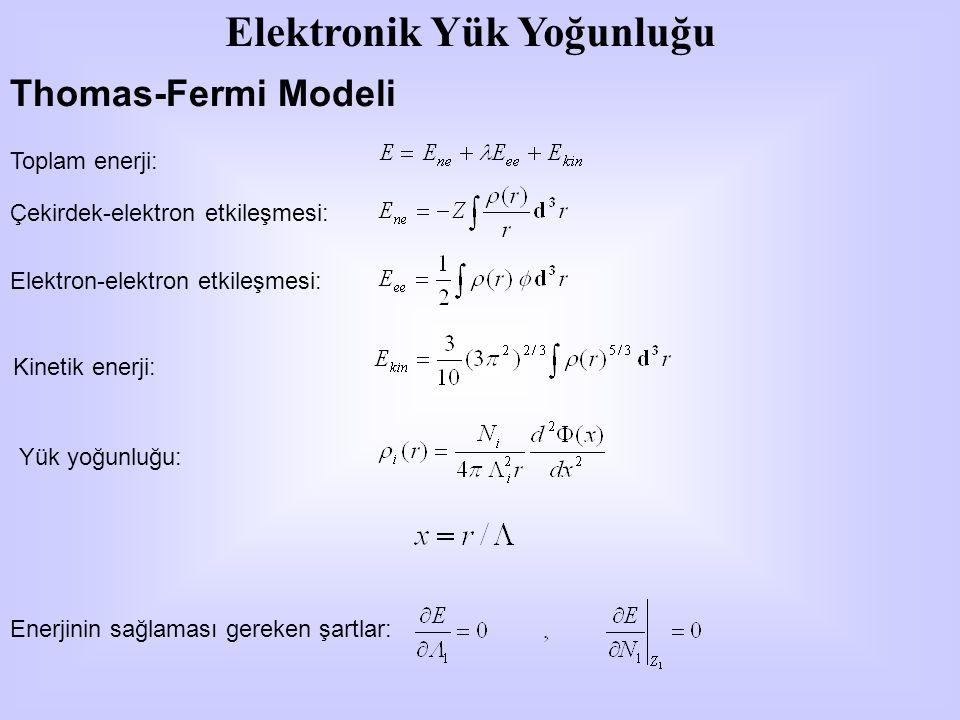 Thomas-Fermi Modeli Toplam enerji: Çekirdek-elektron etkileşmesi: Elektron-elektron etkileşmesi: Kinetik enerji: Yük yoğunluğu: Enerjinin sağlaması gereken şartlar: Elektronik Yük Yoğunluğu